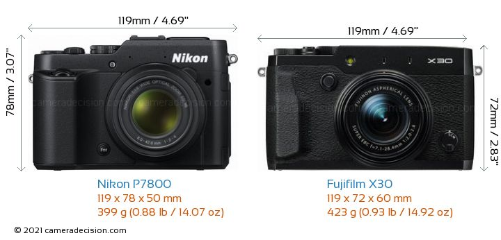 Nikon P7800 vs Fujifilm X30 Camera Size Comparison - Front View