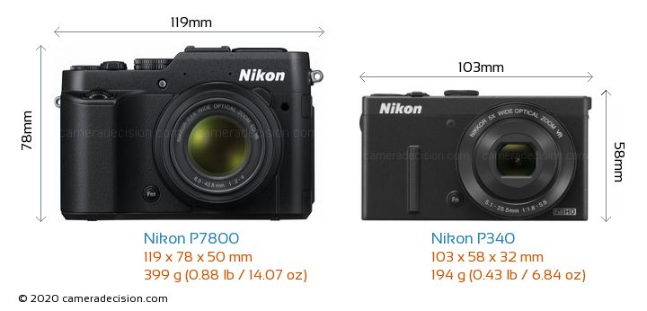 Nikon P7800 vs Nikon P340 Camera Size Comparison - Front View