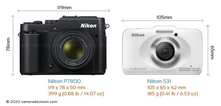 Nikon P7800 vs Nikon S31 Camera Size Comparison - Front View