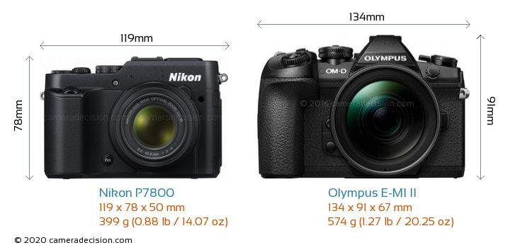 Nikon P7800 vs Olympus E-M1 II Camera Size Comparison - Front View