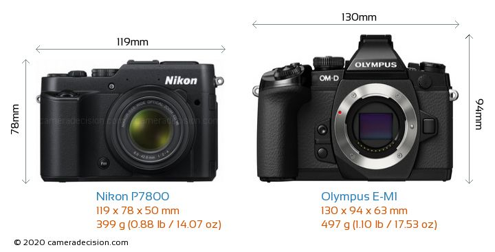 Nikon P7800 vs Olympus E-M1 Camera Size Comparison - Front View