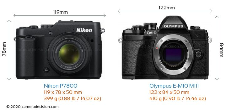 Nikon P7800 vs Olympus E-M10 MIII Camera Size Comparison - Front View