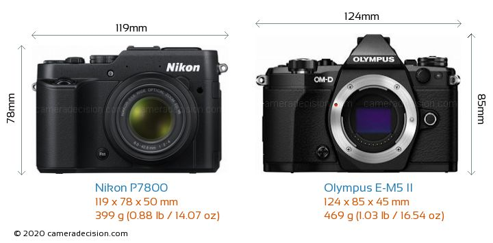 Nikon P7800 vs Olympus E-M5 II Camera Size Comparison - Front View