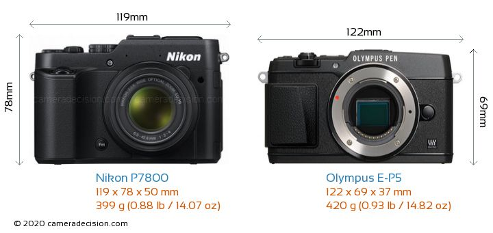 Nikon P7800 vs Olympus E-P5 Camera Size Comparison - Front View