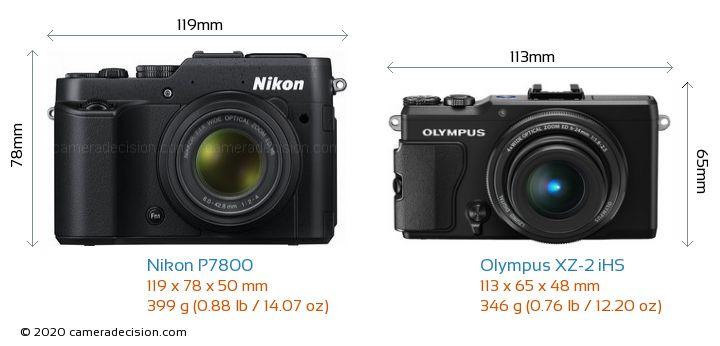 Nikon P7800 vs Olympus XZ-2 iHS Camera Size Comparison - Front View