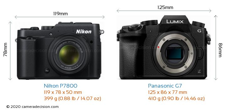 Nikon P7800 vs Panasonic G7 Camera Size Comparison - Front View