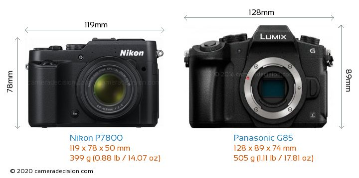 Nikon P7800 vs Panasonic G85 Camera Size Comparison - Front View