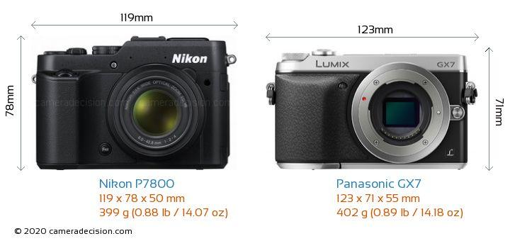 Nikon P7800 vs Panasonic GX7 Camera Size Comparison - Front View