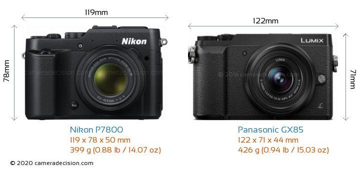 Nikon P7800 vs Panasonic GX85 Camera Size Comparison - Front View