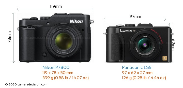 Nikon P7800 vs Panasonic LS5 Camera Size Comparison - Front View