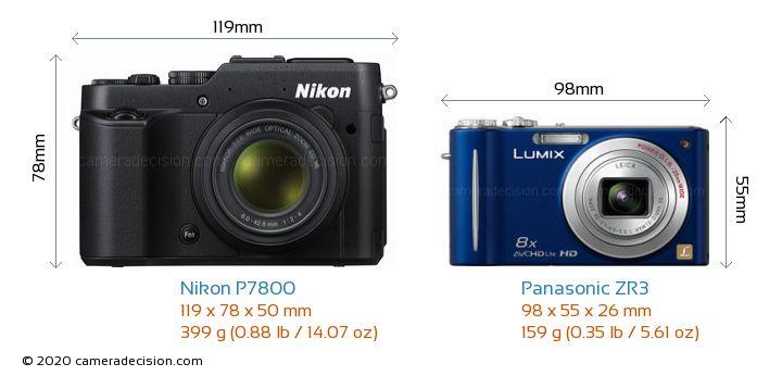 Nikon P7800 vs Panasonic ZR3 Camera Size Comparison - Front View