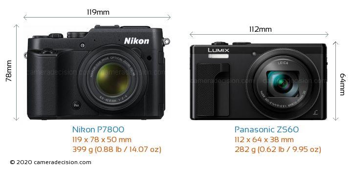 Nikon P7800 vs Panasonic ZS60 Camera Size Comparison - Front View