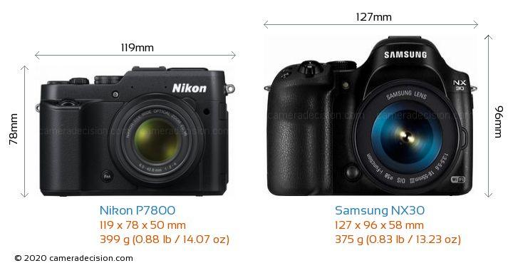 Nikon P7800 vs Samsung NX30 Camera Size Comparison - Front View