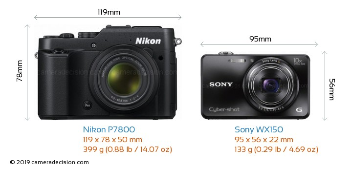 Nikon P7800 vs Sony WX150 Camera Size Comparison - Front View