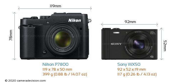 Nikon P7800 vs Sony WX50 Camera Size Comparison - Front View