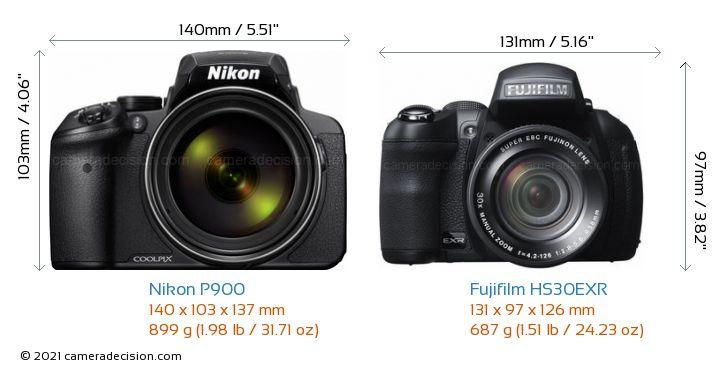 Nikon P900 vs Fujifilm HS30EXR Camera Size Comparison - Front View