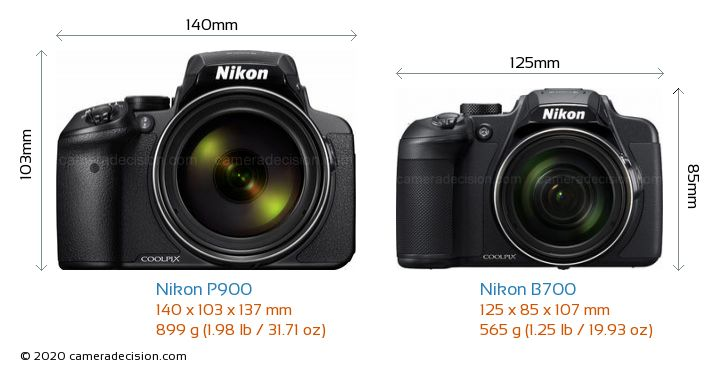 Nikon P900 vs Nikon B700 Camera Size Comparison - Front View