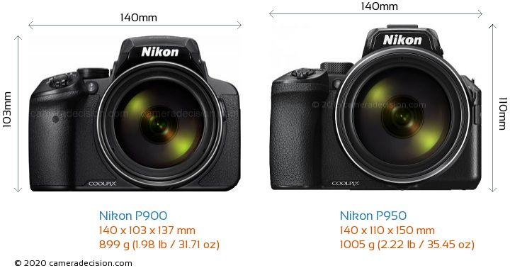 Nikon P900 vs Nikon P950 Camera Size Comparison - Front View