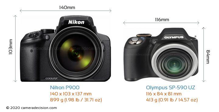 Nikon P900 vs Olympus SP-590 UZ Camera Size Comparison - Front View