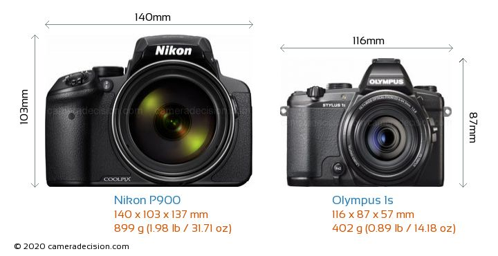 Nikon P900 vs Olympus 1s Camera Size Comparison - Front View