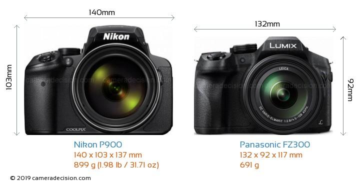 Nikon P900 vs Panasonic FZ300 Camera Size Comparison - Front View