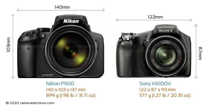 Nikon P900 vs Sony HX100V Camera Size Comparison - Front View