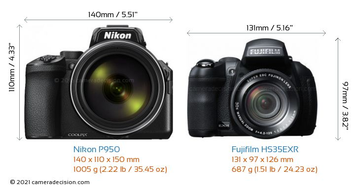 Nikon P950 vs Fujifilm HS35EXR Camera Size Comparison - Front View