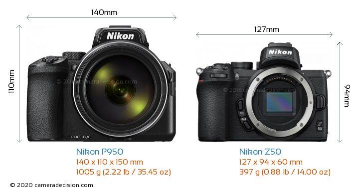 Nikon P950 vs Nikon Z50 Camera Size Comparison - Front View