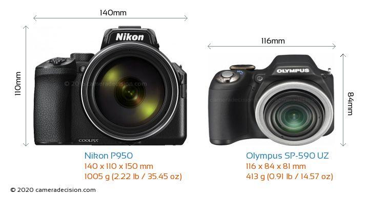 Nikon P950 vs Olympus SP-590 UZ Camera Size Comparison - Front View