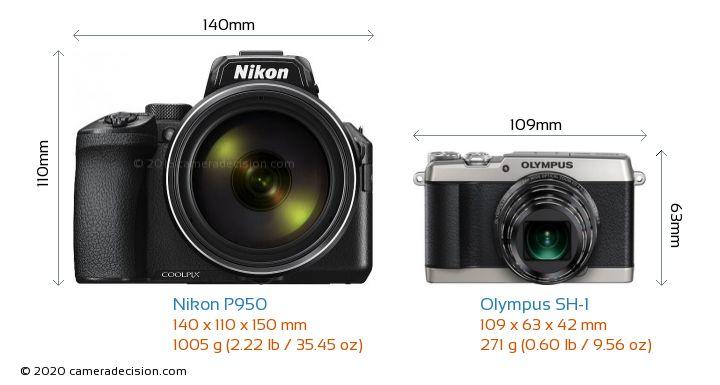 Nikon P950 vs Olympus SH-1 Camera Size Comparison - Front View