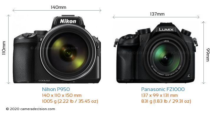 Nikon P950 vs Panasonic FZ1000 Camera Size Comparison - Front View