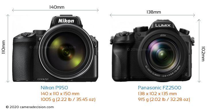 Nikon P950 vs Panasonic FZ2500 Camera Size Comparison - Front View