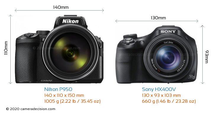 Nikon P950 vs Sony HX400V Camera Size Comparison - Front View