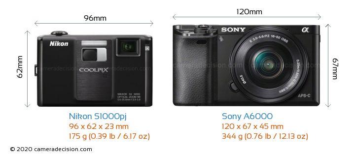 Nikon S1000pj vs Sony A6000 Camera Size Comparison - Front View