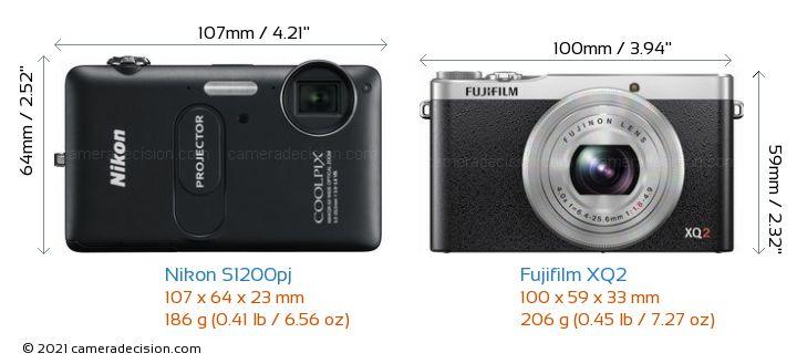 Nikon S1200pj vs Fujifilm XQ2 Camera Size Comparison - Front View