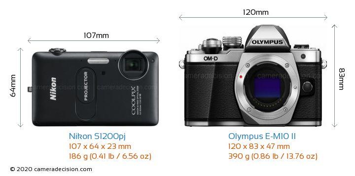 Nikon S1200pj vs Olympus E-M10 II Camera Size Comparison - Front View