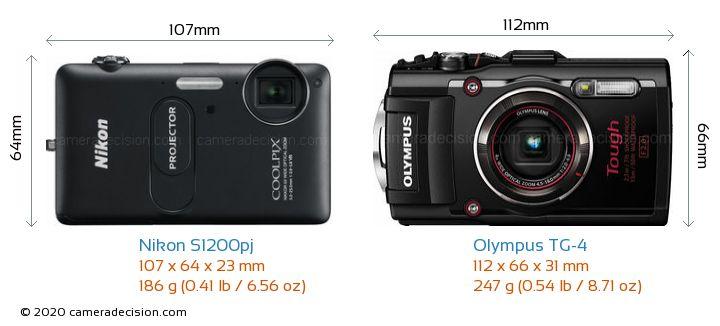 Nikon S1200pj vs Olympus TG-4 Camera Size Comparison - Front View