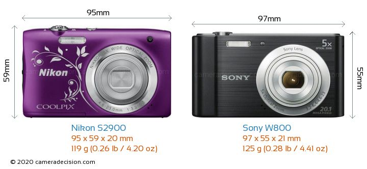 Nikon S2900 vs Sony W800 Camera Size Comparison - Front View