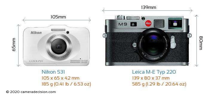 Nikon S31 vs Leica M-E Typ 220 Camera Size Comparison - Front View