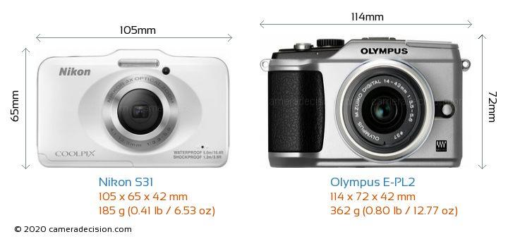 Nikon S31 vs Olympus E-PL2 Camera Size Comparison - Front View
