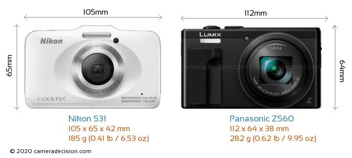 Nikon S31 vs Panasonic ZS60 Camera Size Comparison - Front View