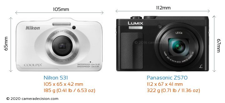 Nikon S31 vs Panasonic ZS70 Camera Size Comparison - Front View