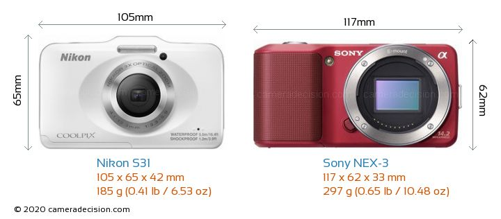 Nikon S31 vs Sony NEX-3 Camera Size Comparison - Front View