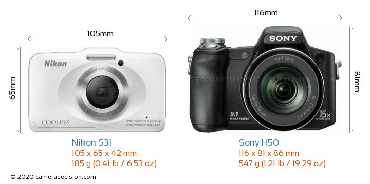 Nikon S31 vs Sony H50 Camera Size Comparison - Front View