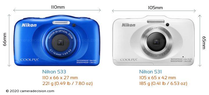 Nikon S33 vs Nikon S31 Camera Size Comparison - Front View