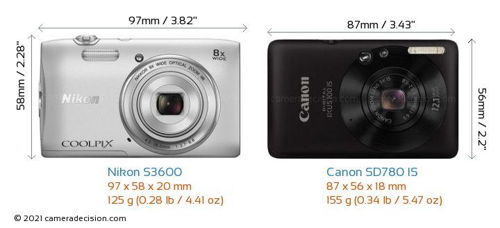 Nikon S3600 vs Canon SD780 IS Camera Size Comparison - Front View