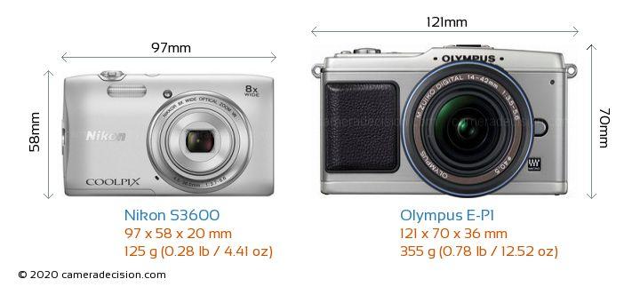 Nikon S3600 vs Olympus E-P1 Camera Size Comparison - Front View