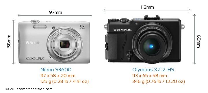 Nikon S3600 vs Olympus XZ-2 iHS Camera Size Comparison - Front View