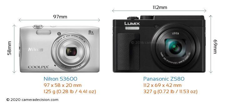 Nikon S3600 vs Panasonic ZS80 Camera Size Comparison - Front View