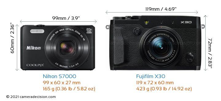 Nikon S7000 vs Fujifilm X30 Camera Size Comparison - Front View